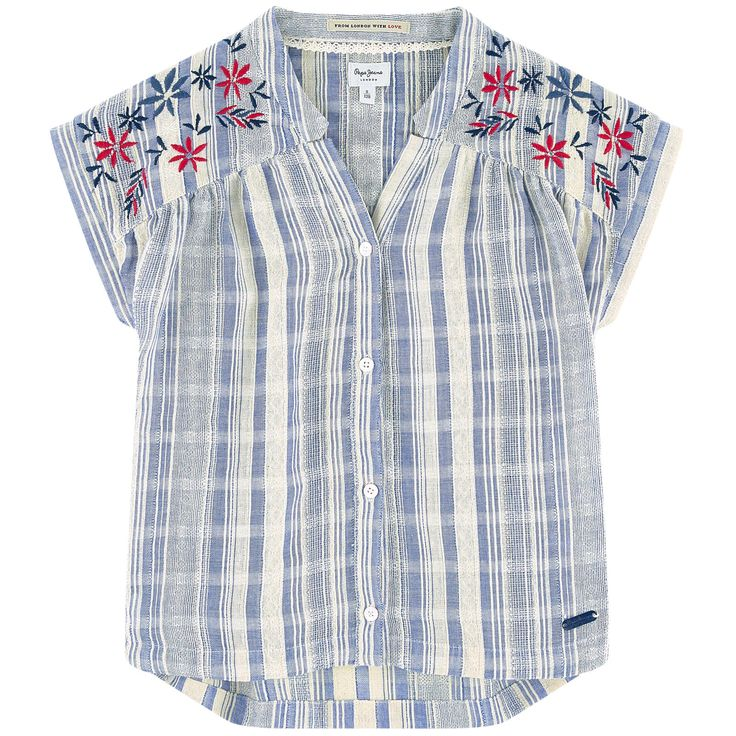 Cotton fabric V neck Shoulder patches Box pleats in the back Sleeveless Slits at the bottom Logo buttons Fancy stripes Embroidered flowers Logo plate - $ 72