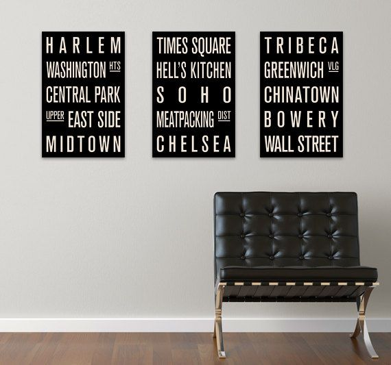 New York Neighborhoods COLLECTION Of 3 Subway Sign Prints Bus Scrolls 12 X 18 SignsDcor IdeasDressing