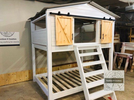 Farmhouse Full Bunk Bed Barn Door Bed Kids Beds House Etsy House Beds For Kids Loft Bed Bed