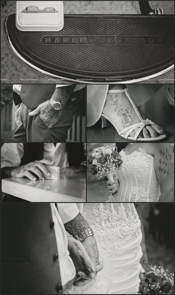 Wedding photography ideas. Harley Davidson. Bike Tattoo. Different. Original. Biker. Lover. Love. Couples tattoo. Marriage. Bride. Groom. Black and white. Classique. Photographie de Mariage. Séance photo.  Différent Idées. Original Motard. Moto.  Mariées tatoués. Tatou Tatou de couples. Noir et blanc.