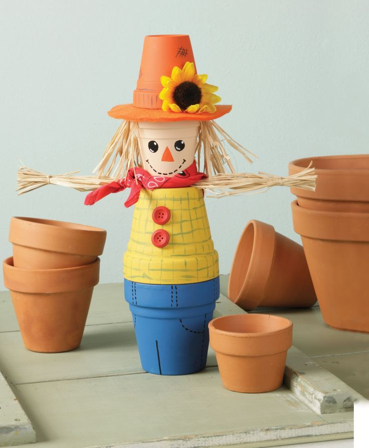 "Clay Pot Scarecrow These steps will help you complete your projects Supplies - Get the job done right.  two 4"" dia. clay pots  two 3"" dia. clay pots  acrylic paint (orange, peach, yellow, green,..."