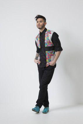 Graffiti Dress Shirt & Black Saddle Pants