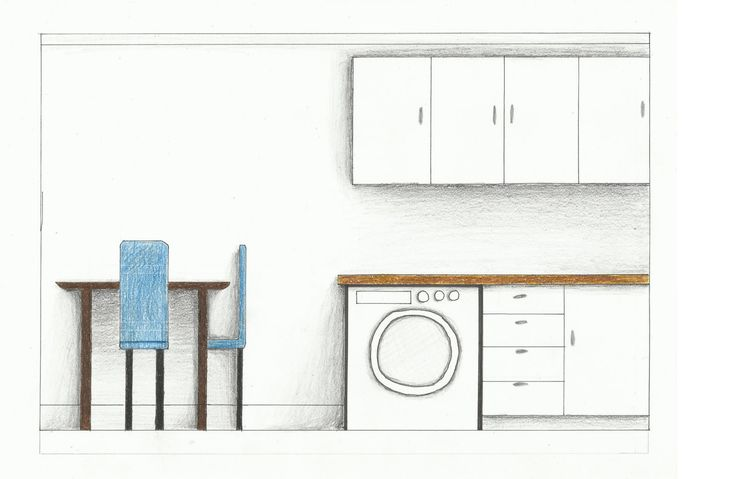 Laundry/ Dining/ Kitchen Elevation- Rendered