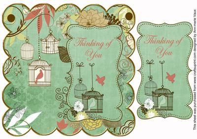 Mint Birdcage Thinking of You 8in Scallop Topper on Craftsuprint - Add To Basket!