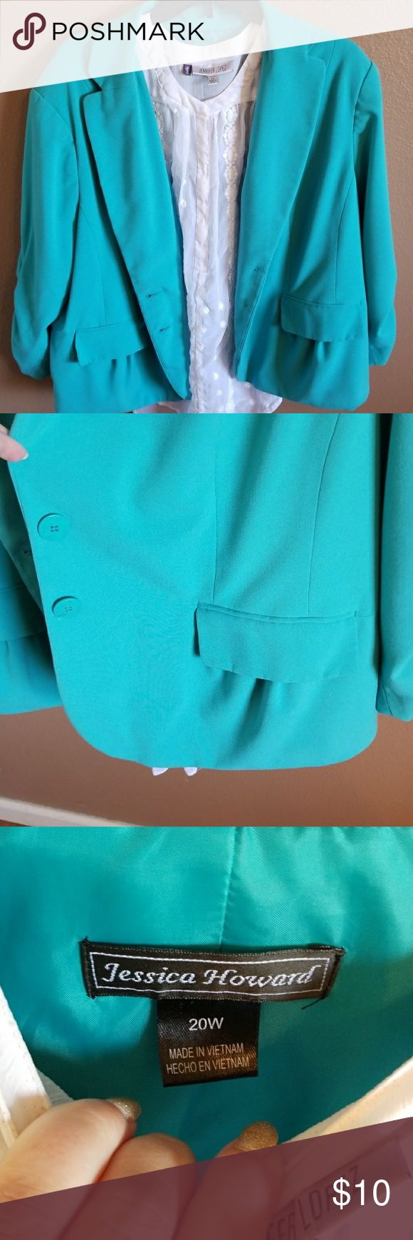 Turquoise Blazer Moderate wear - hard to find color! Jessica Howard Jackets & Coats