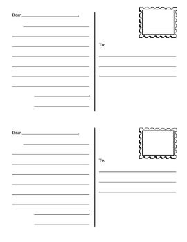 Postcard template, free - daily 5 work on writing
