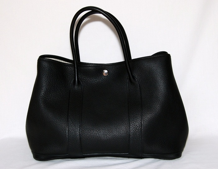 """""""Garden Party"""" bag in noir (black) with silver palladium hardware from Hermes."""