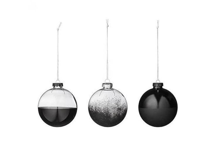Bloomingville set van 3 kerstballen zwart