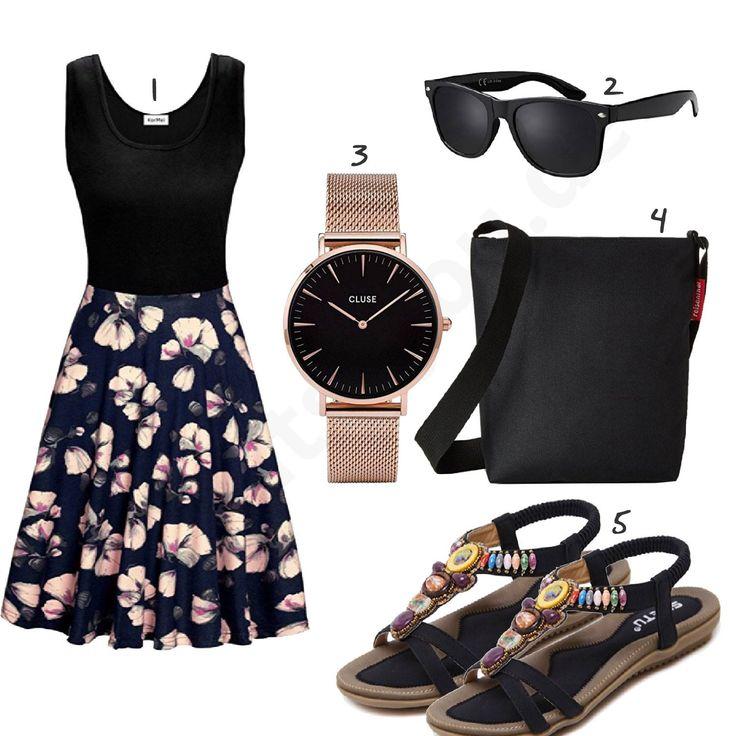 Sommeroutfit mit Blumen-Kleid, Sandalen und Uhr – Outfits4You