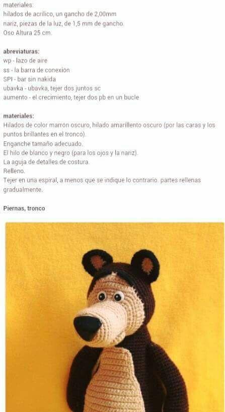 Oso precioso dibujos masha | Patrones amigurumi | Crochet, Crochet ...