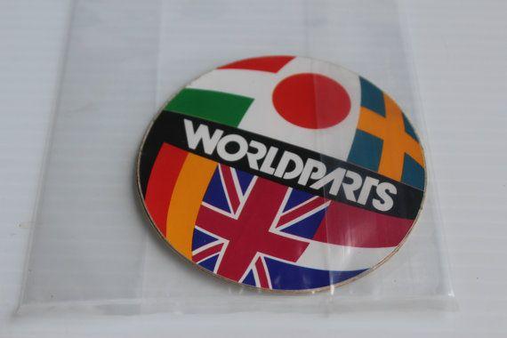 WORLDPARTS Sticker, Vintage Auto Import Parts Advertising STICKER, retro automotive sticker, vintage promotional sticker vintage collectible