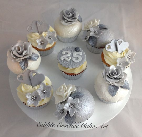 Silver wedding anniversary cupcakes