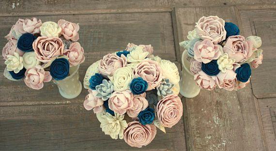 Sola flower bouquet, brides wedding bouquet, navy blue and blush pink wedding flowers, dusty rose bouquet, eco flowers, wood flower bouquet