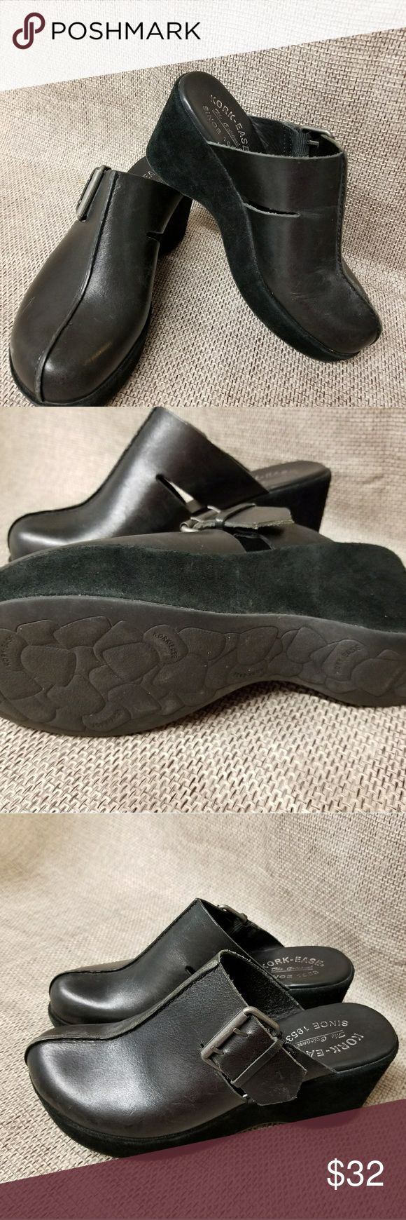Kork-Ease black Clogs Wedge shoes ladies 7 38 Excellent pre owned condition. Non smoking home. #24 Kork-ease Shoes Mules & Clogs