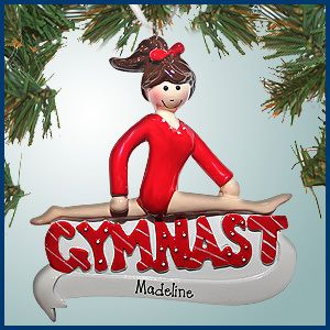 PersonalizedFree.com - Gymnast in Red Leotard  Personalized Christmas Ornament - Brown Hair, $12.99 (http://personalizedfree.com/gymnast-in-red-leotard-brown-hair/)