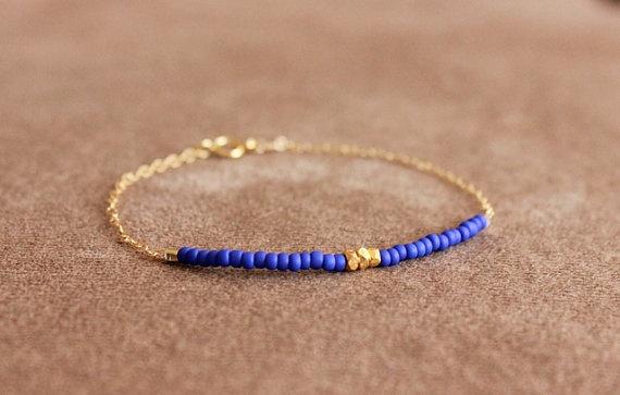 cornflower blue - lucky gold bracelet