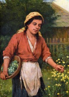 VASTAGH GYÖRGY (1834-1922) - Virágszedő lány