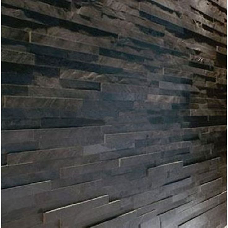 dark tile walls | Black Slate Split Face Mosaic Tile