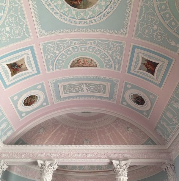 """""""There some wonderful grand houses in and around London, but oh, Kenwood House perched atop the Hampstead Heath. Look at the deliciously sherbety ceiling of the its Robert Adam library. Like a friend of mine said """"built when things were made to be beautiful."""" To visit Kenwood House in North London go to www.english-heritage.org.uk for more information.""""   - HouseBeautiful.com"""
