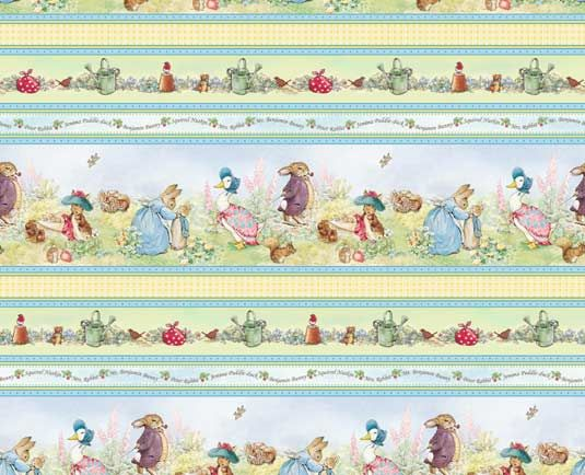 fabric - Beatrix Potter Border Stripe Stripes of Beatrix Potter characters; the stripes run parallel to the selvedges of the fabric. There a...