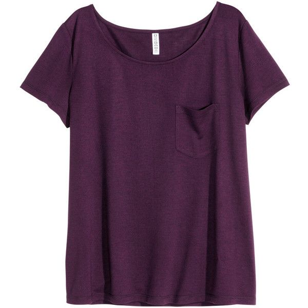 H&M Top ($11) ❤ liked on Polyvore featuring tops, shirts, t-shirts, burgundy, h&m tops, h&m, purple shirt, short sleeve tops and shirts & tops