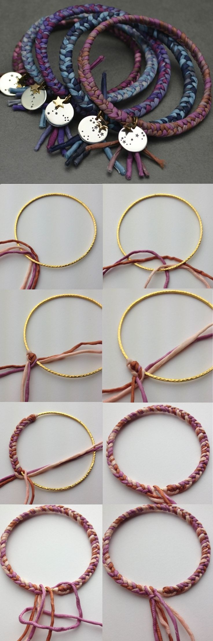How to DIY:: Braided Bangles. Add your favorite charm to a colorful braided bangle and stack them for a boho look   http://www.ninadesigns.com/jewelry_design_ideas/constellation_cuffs.html: