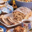 """CINNAMON RAISIN BREAD - Combine 4 cups all-purpose flour 1-1/2 cups sugar 2 tspn baking soda & 1 tspn salt. In a bowl, whisk 2 eggs, 2 cups buttermilk & 1/2 cup canola oil. Stir wet into dry mix, then mix in 1/2 cup raisins. In a bowl, whisk 3 tspn ground cinnamon with 1/2 cup sugar. Pour 1/2 batter into 2 8x4"""" prepared loaf pans. Sprinkle with 1/2 the cinnamon mix; repeat with remaining batter and cinnamon mix. Swirl with knife through batter. Bake at 350*, 55-60 min"""