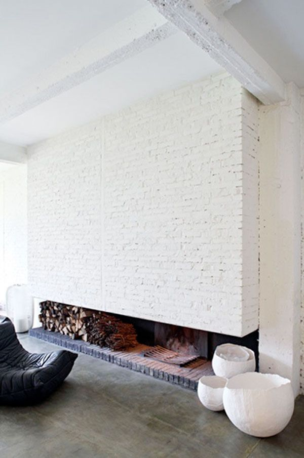 White brick fireplace: