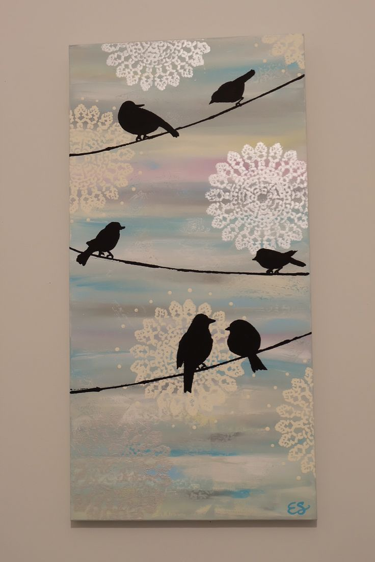 Birds on a wire. Acrylic on canvas. Blended random dabs of paint across canvas. Then stencilled doilies and painted on birds .