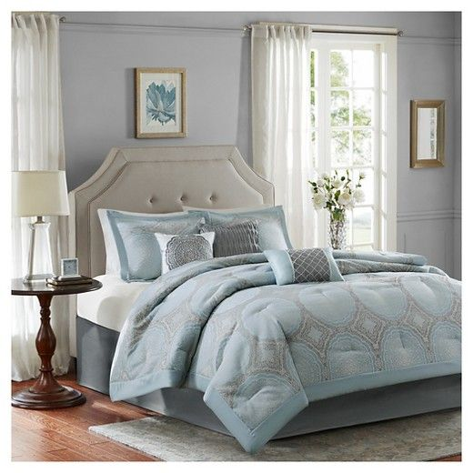 • Sophisticated tile medallion pattern<br>• Contemporary muted tones<br>• Silky-soft polyester exterior<br>• Plush polyester fill<br>• Machine wash gentle<br>• Includes: comforter, bedskirt, 3 decorative pillows & 2 standard shams<br><br>The 7-Piece, Teresa Medallion Tile Comforter Set will please both you and your partner. Boasting an intricate medallion tile pattern complete with accent pillo...