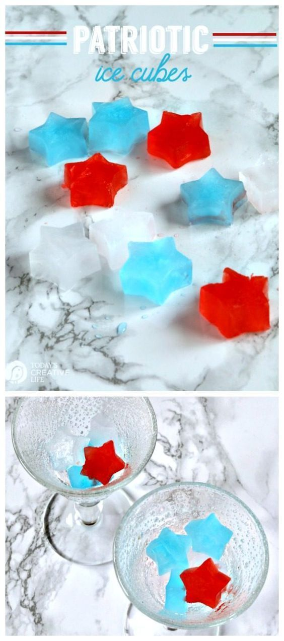 Patriotic Star Shaped Ice Cubes | Simple and easy entertaining ideas for 4th of July, Memorial Day, or Labor day! Add a touch of red, white and blue in an unexpected place. Simple and easy! See more on Today's Creative Life
