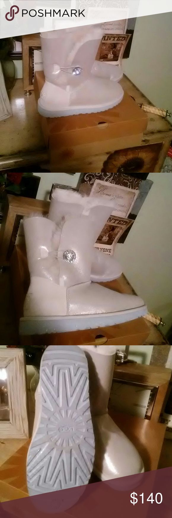 ?? Authentic Eggs Boots Metallic silver with stone leather with swede. Genuine sheepskin lining. Have very light glitter over the hold boot . uggs Shoes Ankle Boots & Booties
