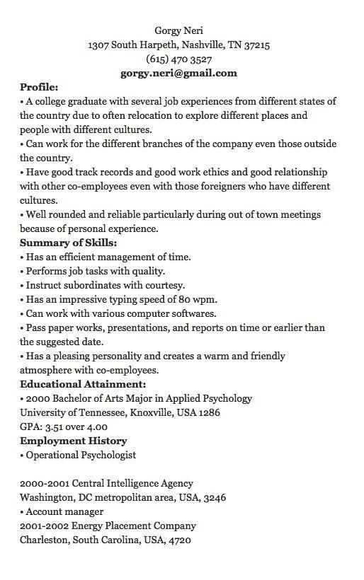 1902 best free resume sample images on pinterest