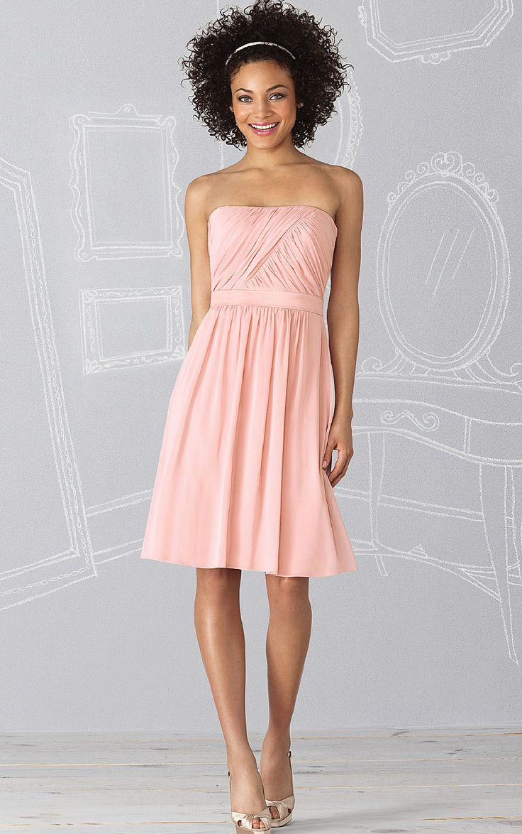A-line Zipper Chiffon Strapless Natural Bridesmaid Dresses
