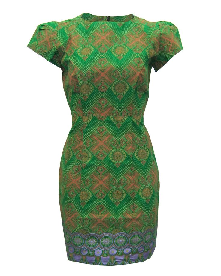Fair Trade Square shoulder pencil dress