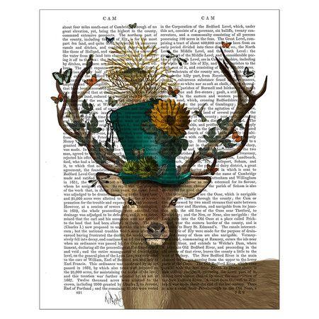 FabFunky - Mad Hatter Deer Print