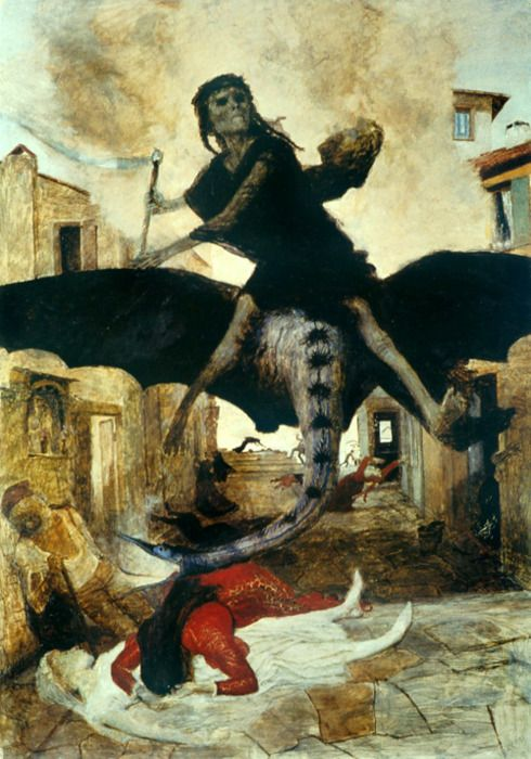 The Plague, Arnold Bocklin. The Swiss painter was a symbolist, part of a movement that - prior to Freud - sought to represent inner psychic states in art