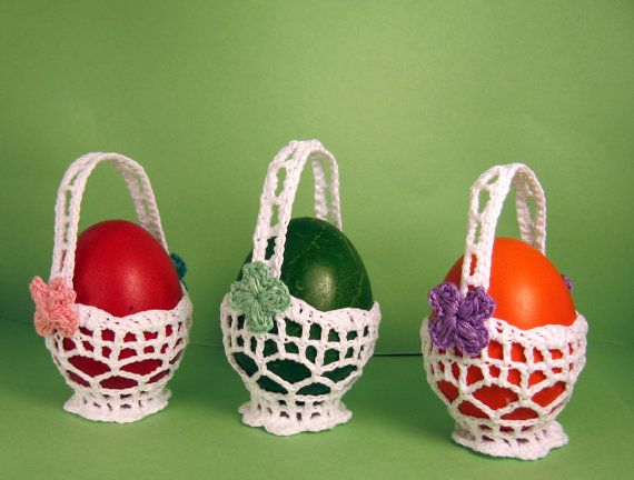 Crochet Easter Baskets Home Decoration Set of 3 by stoykasart