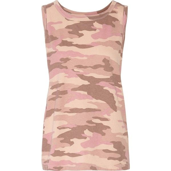CURRENT/ELLIOTT   The Muscle printed cotton-jersey tank (440 HRK) ❤ liked on Polyvore featuring tops, camo tank tops, cotton jersey, camoflauge tank top, muscle tank and slit tops