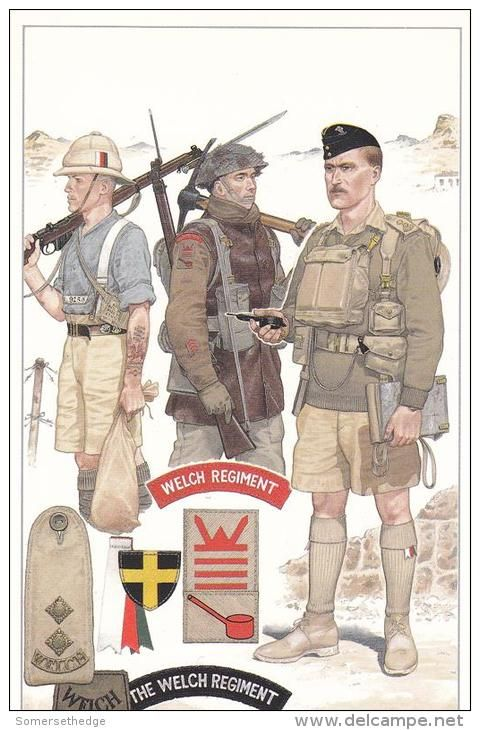 BRITISH ARMY The Welch Regiment illustrated by Mike Chapppell. L to R; 2nd Welch, Private, Ration Fatigues, North West Frontier 1934, 1/4th Welch NW Europe Winter of '44 & 1st Welch, Lieutenant, Crete 1941.