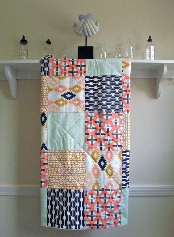 Modern Baby Quilt - Arizona - Patchwork - Mint, Peach, Dark Navy, White, Mustard - Southwestern Toddler Quilt - Minky Back $89