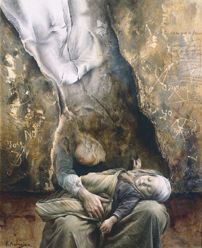 Eduardo Naranjo - TRISTE MATERNIDAD. 1976. Óleo sobre tabla. 38 x 33 cm.