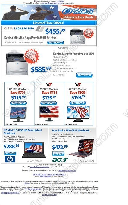 Company:    Super Warehouse   Subject:    Veteran's Day Deals!             INBOXVISION is a global database and email gallery of 1.5 million B2C and B2B promotional emails and newsletter templates, providing email design ideas and email marketing intelligence.  http://www.inboxvision.com/blog  #EmailMarketing #DigitalMarketing #EmailDesign #EmailTemplate #InboxVision