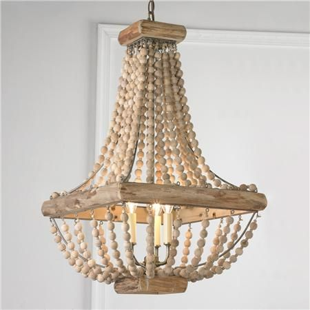Wood Bead Chandelier- love the shape for the bedroom light fixture!