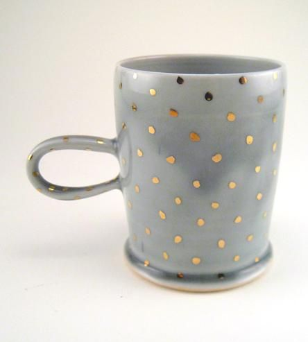 Gold Polka Dot Porcelain Mug by Silver Lining Ceramics on Scoutmob Shoppe