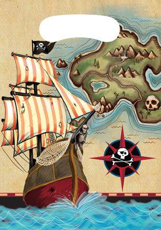 Pirates Map Loot Bags 8pk