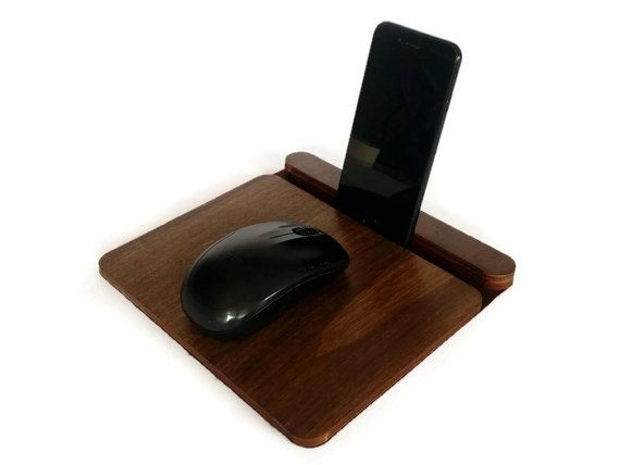 Laser cut wood mousepadwooden phone standoffice desk