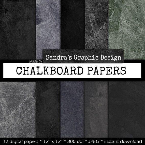 Krijtbord digital paper KRIJTBORD PAPIER door SandraGraphicDesign