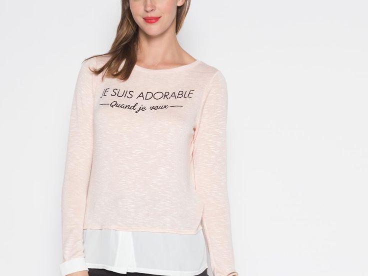 Têtue-vous ? Non déterminée, et vous l'affichez avec humour sur ce t-shirt 2 en 1 ! Pour terminer votre tenue, ajoutez une jupe en jean boutonnée, un blouson zippé et des bottes en cuir. T-shirt 2 en 1, coupe cintrée, col arrondi, manches longues, maille moulinée bicolore, tissu uni.