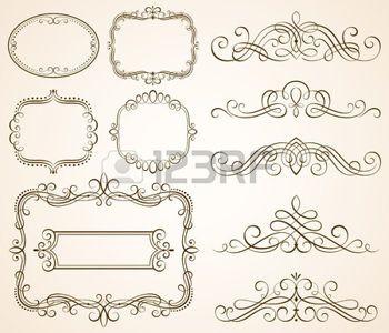 cornice disegno: Set di cornici decorative e scorrere gli elementi illustrazione vettoriale.